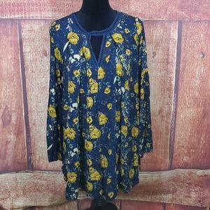 Umgee Blue Gold Flora Dress
